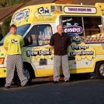 Cartoon Network Part branded promotional ice cream van with uniformed staff