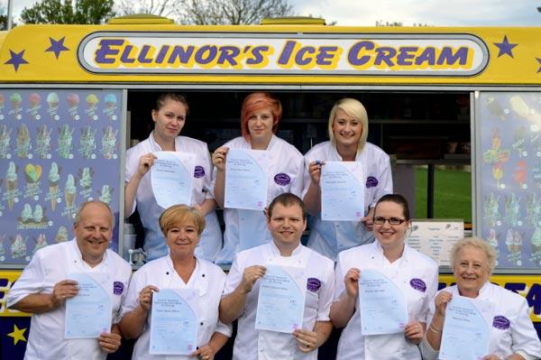 Ellinors Ice Cream Staff all hold 5* Hygiene awards